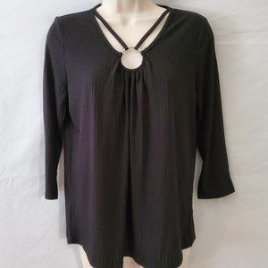 Love Scarlett Knit Long Sleeve Tee Black Top